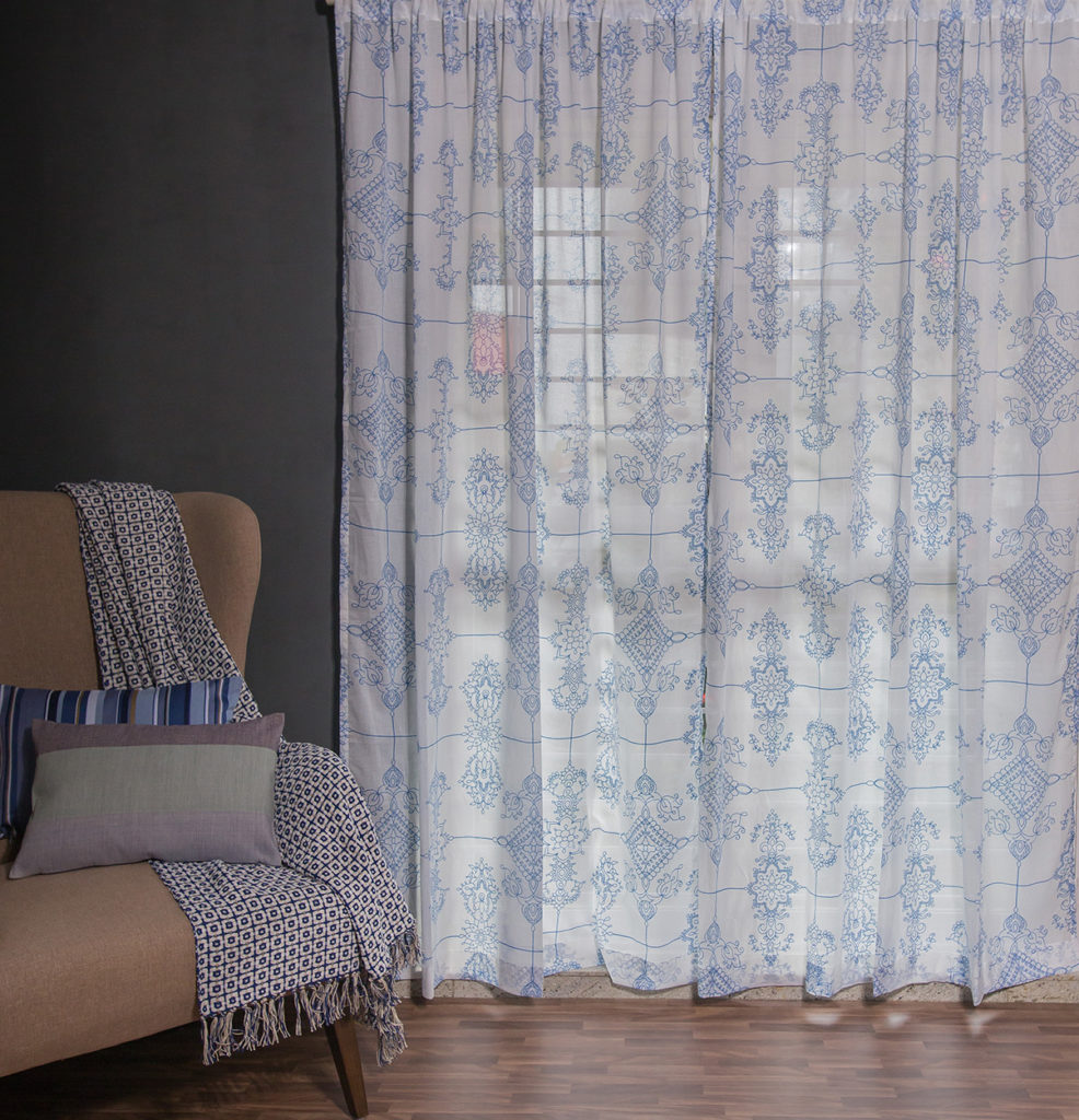 Classic Lines Sheer Cotton Curtain Blue Thoppia