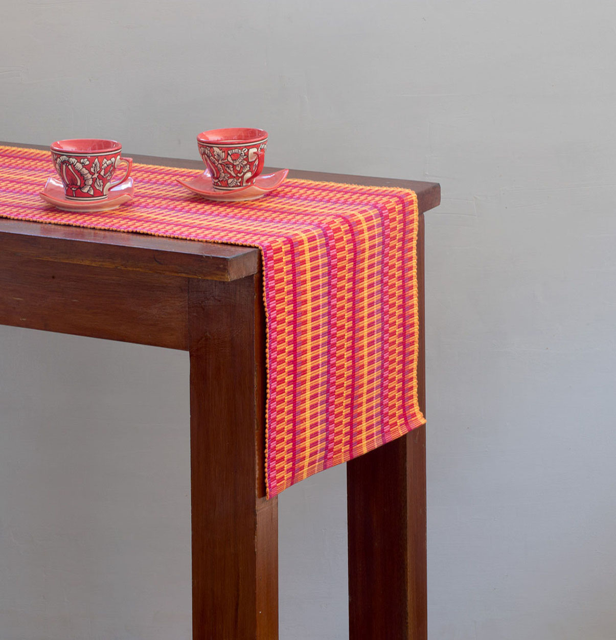 handwoven stripes cotton table runner red yellow 14 x 90 thoppia