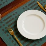 Handwoven Cotton Tablemats Dusty Turquoise Green/Black - Set of 6
