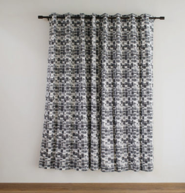 Brush Stroke Cubes Black Cotton Curtain