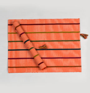 Handwoven Stripe Cotton Tablemats Pink – Set of 6
