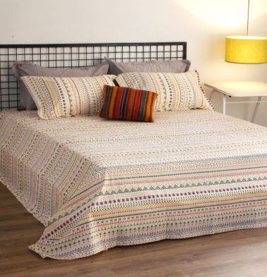 Mosaic Print Cotton Bedsheet – Yellow