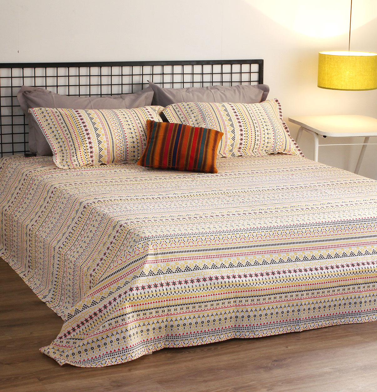 Mosaic Print Cotton Bed Sheet Yellow With 2 Pillow