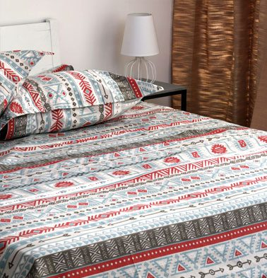 Aztec Cotton Bedsheet – Red- With 2 pillow covers