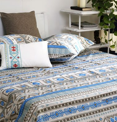 Aztec Cotton Bedsheet – Blue – With 2 pillow covers