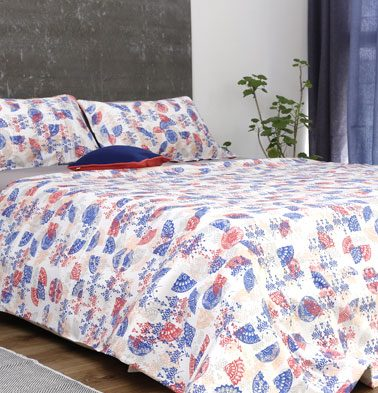 Scattered Semi Print Cotton Bedsheet – Red- With 2 pillow covers