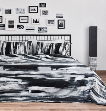 Textura Brushstroke Cotton Bedsheet – Black