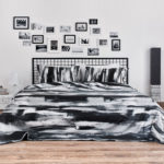 Brushstroke Cotton Bedsheet – Black- With 2 pillow covers