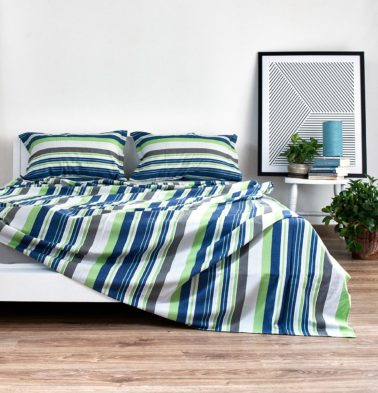 Woven Stripes Cotton Bed Sheet Brilliant Green Blue With 2 Pillow Covers