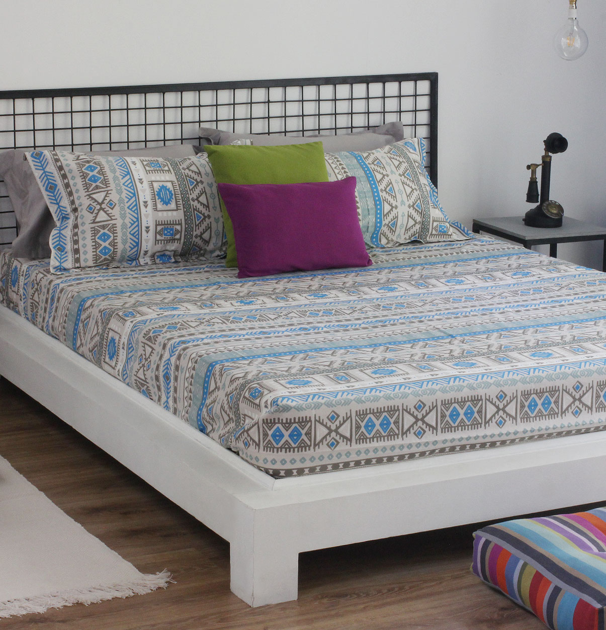 Aztec Cotton Bed Sheet   Blue   With 2 Pillow Covers U2013 Thoppia