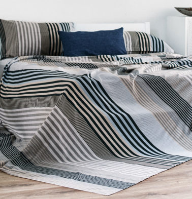 Melange Blue Cotton Stripes Bedsheet