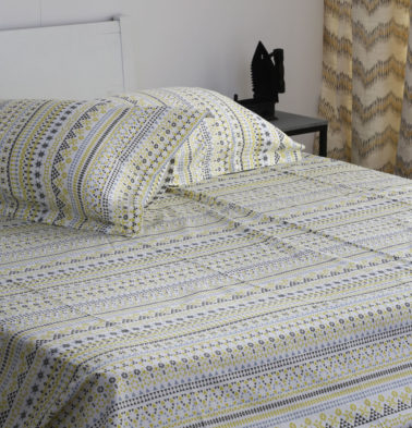 Mosaic Print Cotton Bedsheet – Lemon Yellow- With 2 pillow covers