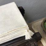 White cotton throw by Thoppia