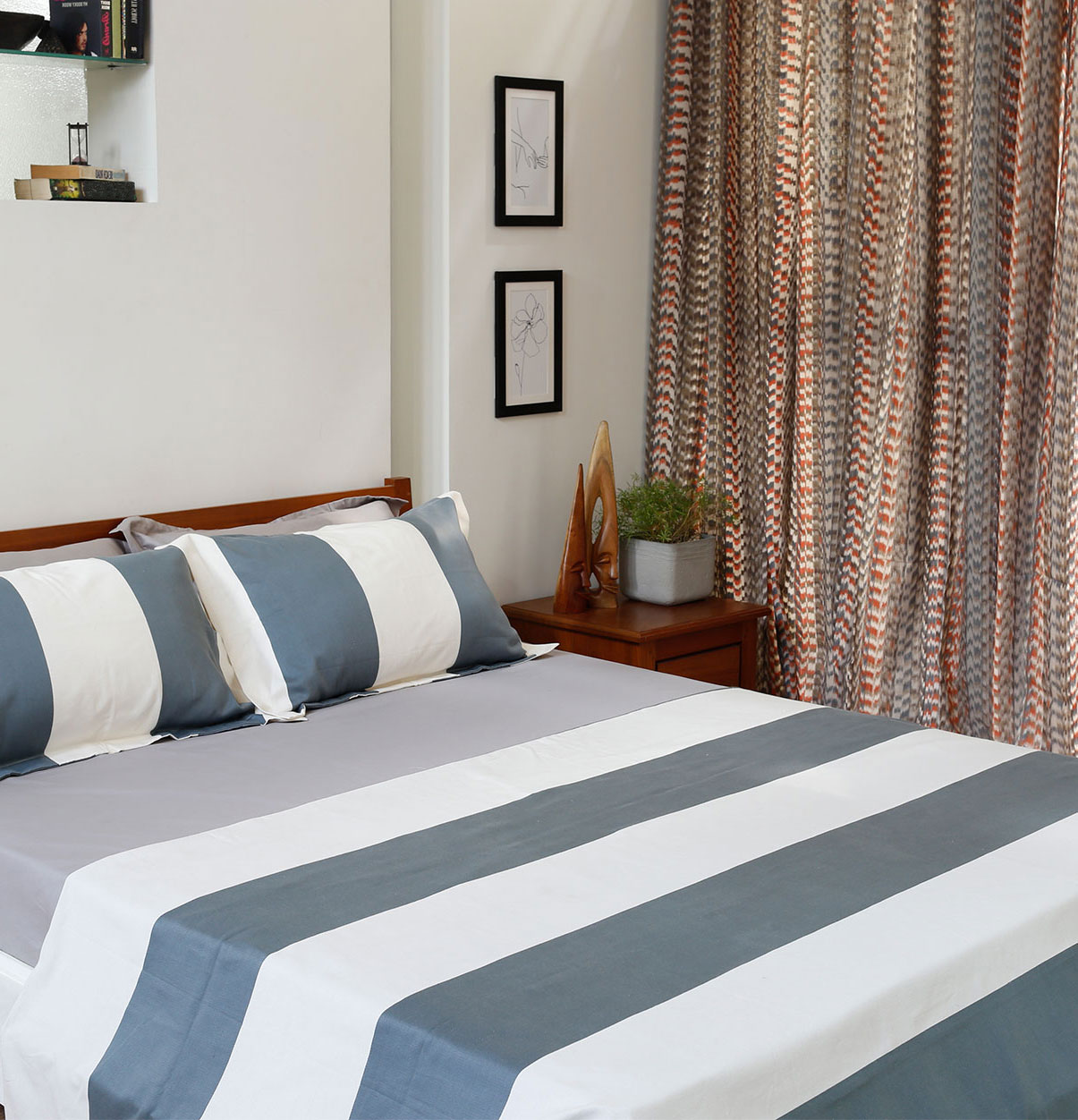 Broad Stripe Cotton Bed Sheet Silver Blue   With 2 Pillow Covers U2013 Thoppia