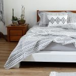 Mosaic Print Cotton Bedsheet – Black- With 2 pillow covers