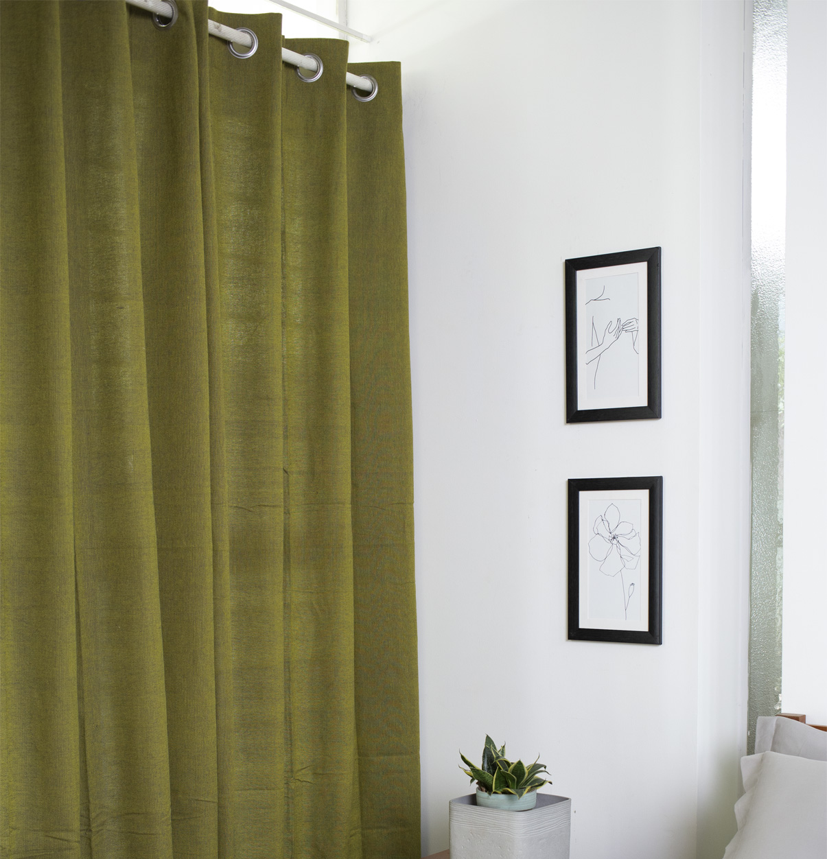 Chambray Cotton Curtain Olive Green Thoppia